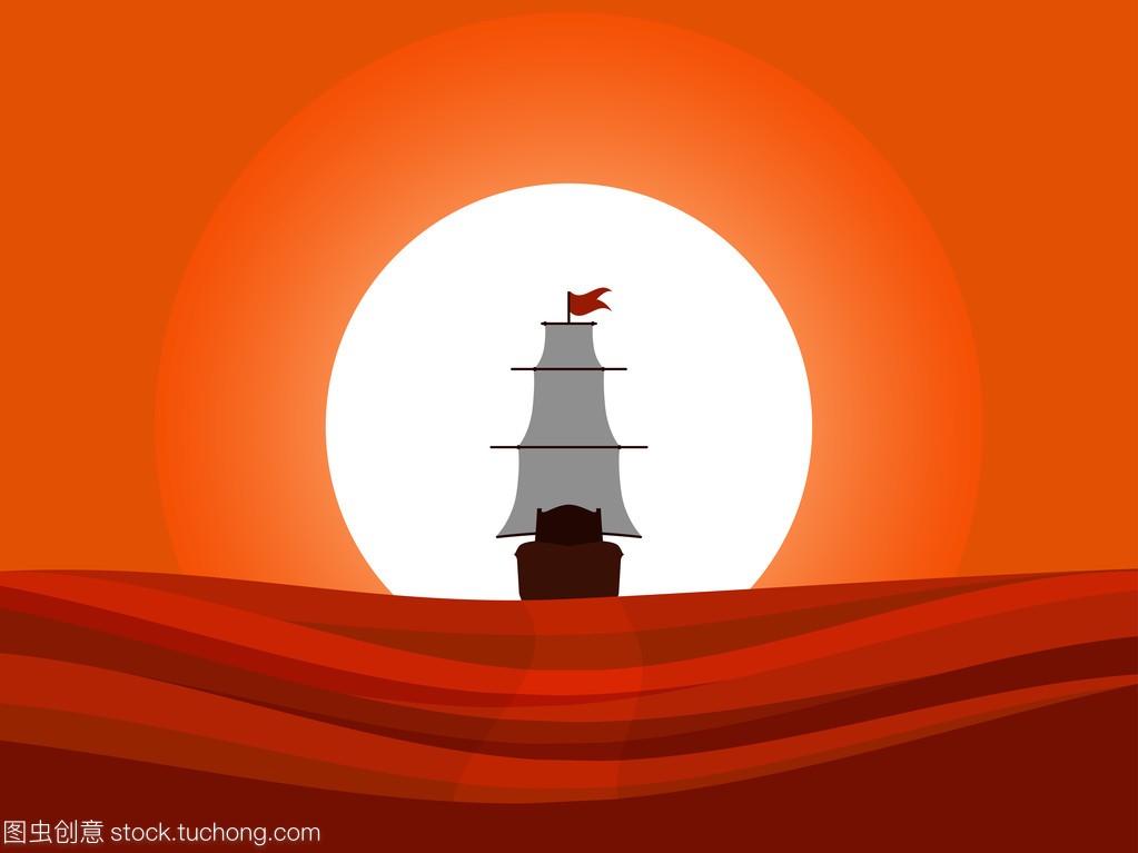 这艘船飘走到日落。看法中世纪船后方的油耗。10款奔腾b70百公里帆船图片