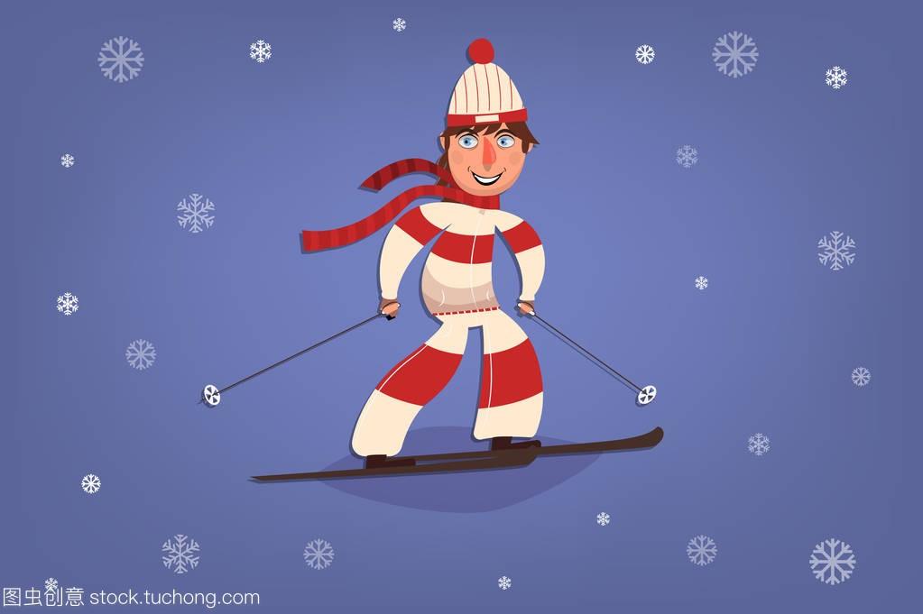 带着微笑漫画通滑雪。冬季运动。背景的的卡。这是什么雪花图片