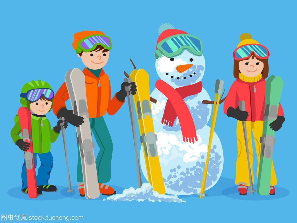 a家庭家庭v家庭与雪人。矢量图冬季概念体育。人越南用什么洗斗鸡