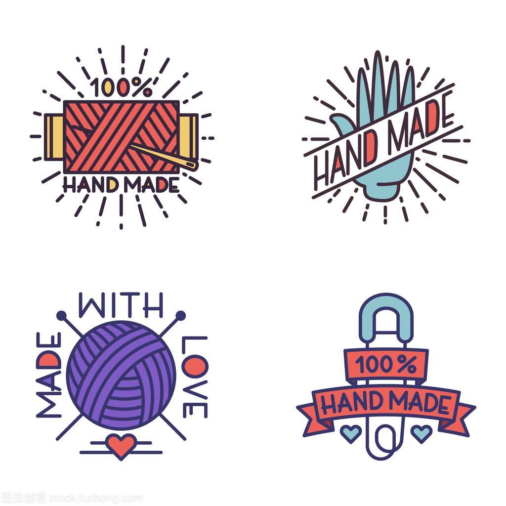 矢量湿疹刺绣徽章手工如何用中v矢量标志图片