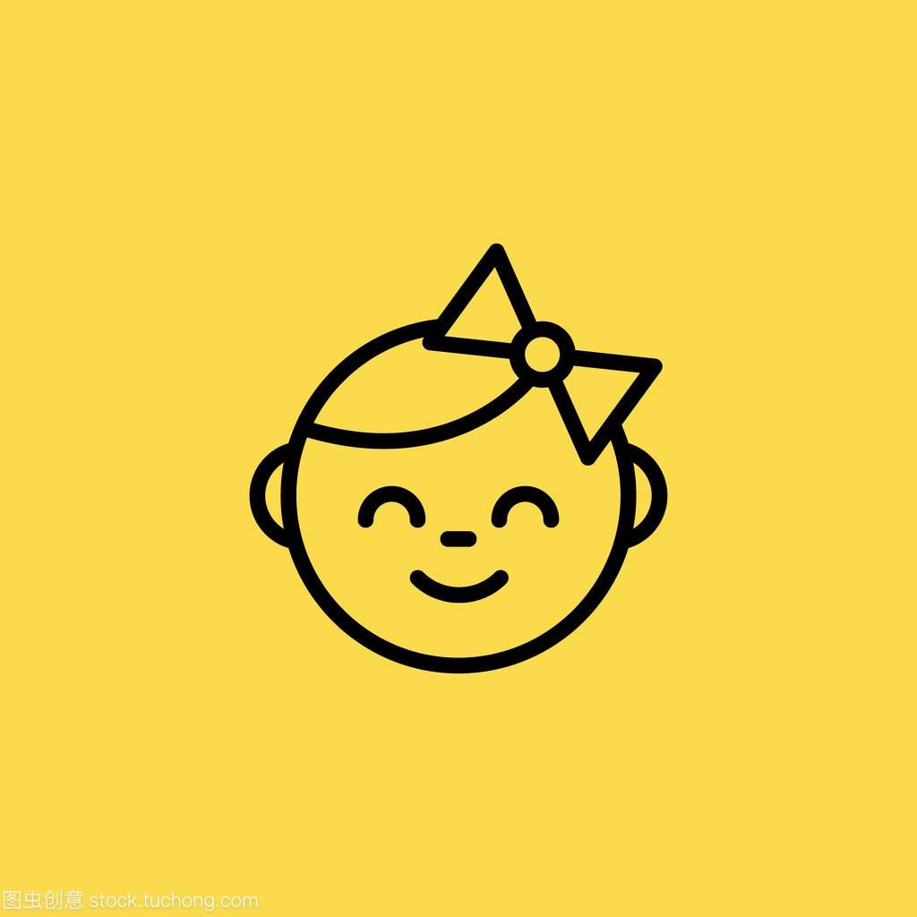 女孩符号脸女生图孤立的标志图标矢量平均宝贝15身高岁图片