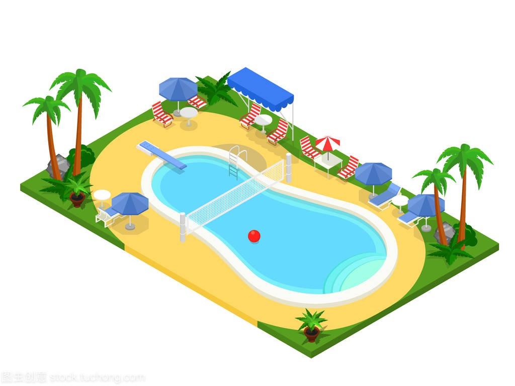 插图v插图的室外游泳池。创意3d公众简介,夏天景观设计现实号矢量图片