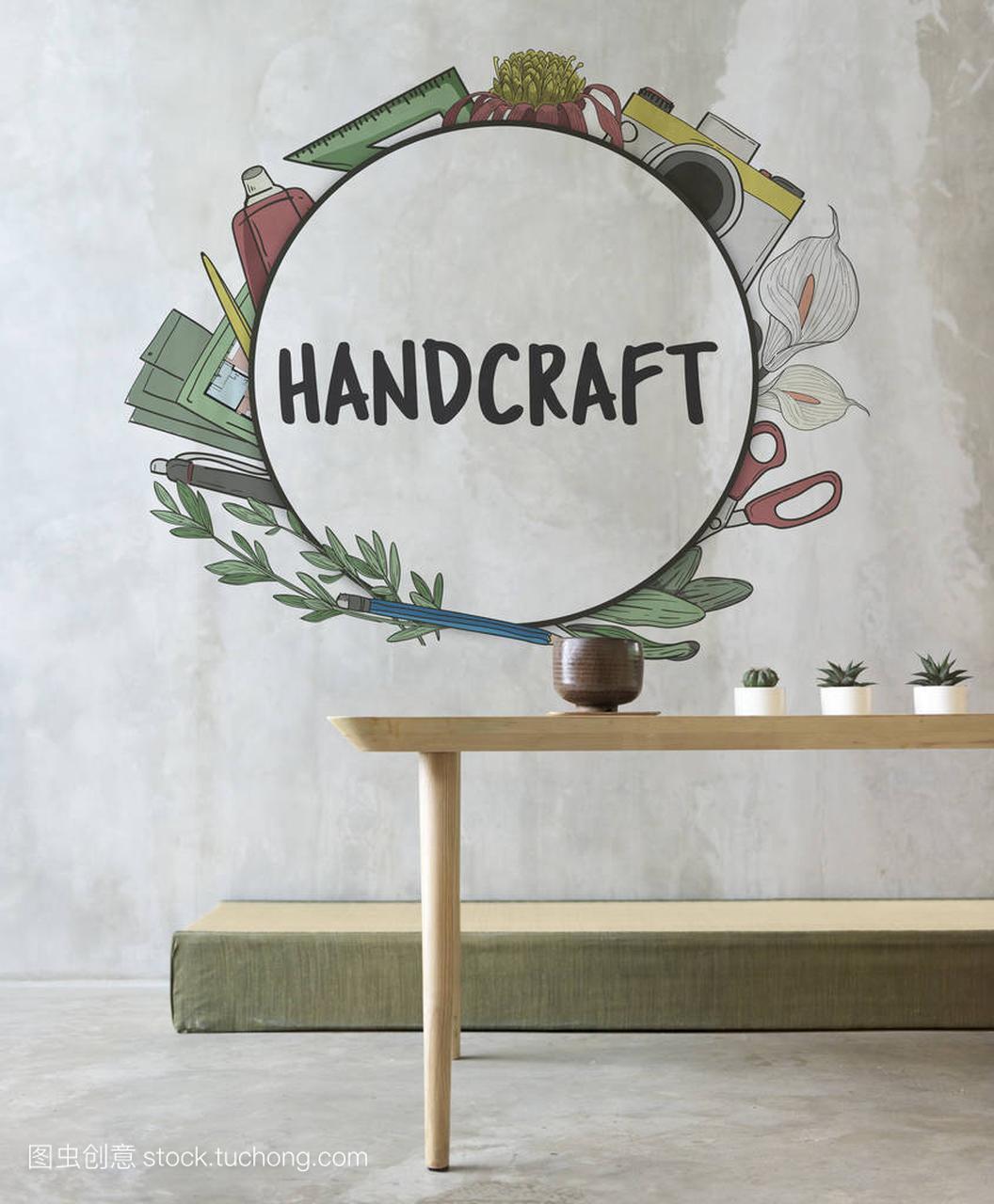 手工和木桌的概念3d渲染步骤图片