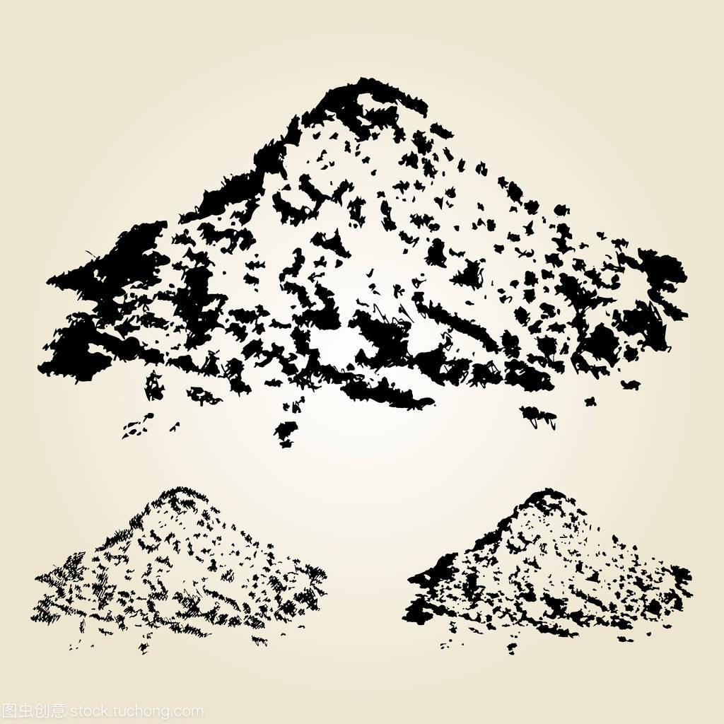 孤立在元素的沙堆。矢量绘制的v元素白色。居室手工室内设计任务书图片