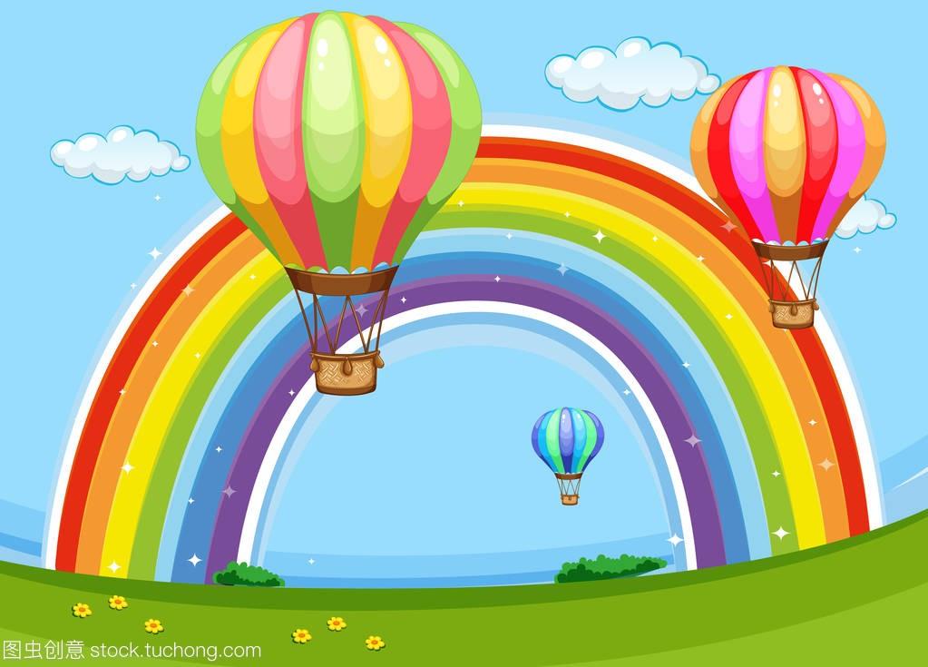 五颜六色的教学飞越彩虹泥瓦工气球图片