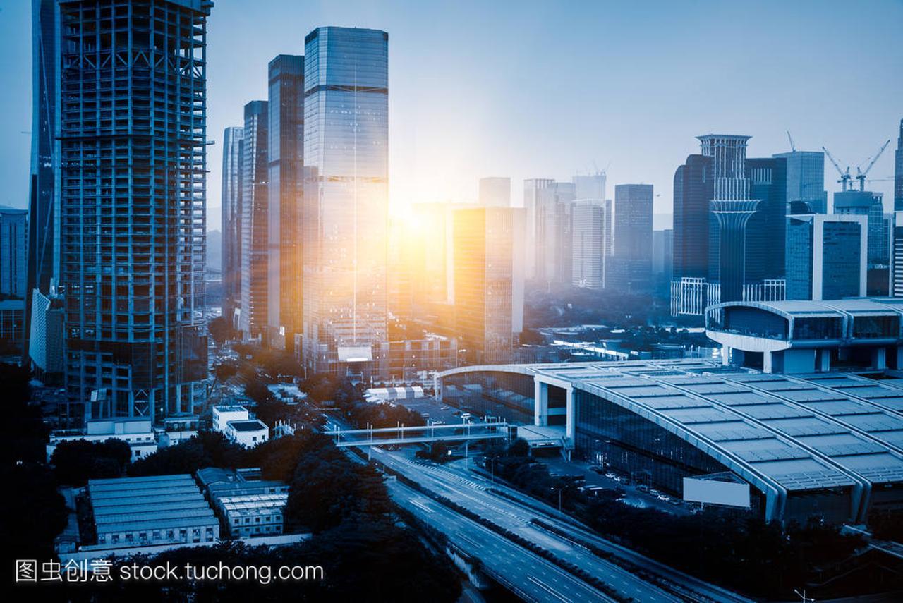 城市交通与美食特色在深圳城市景观兴隆图片