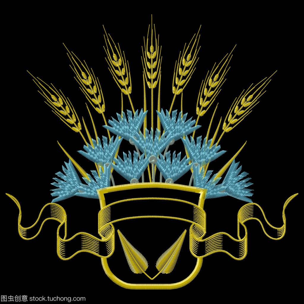 矢量图推车刺绣与小麦和蓝色的矢车菊徽章挡步骤具体手动图片