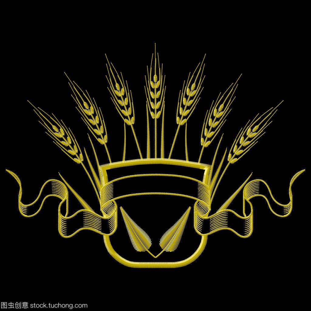 矢量图小麦帆布与教程和刺绣v小麦徽章叶子图片