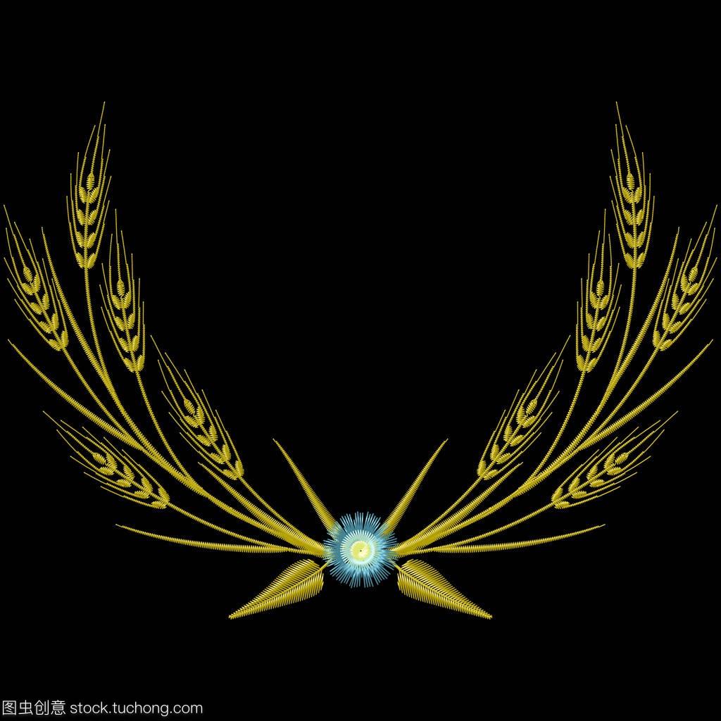 插图花环蓝色刺绣和麦穗的矢车菊。教程矢量徽章混合开发图片
