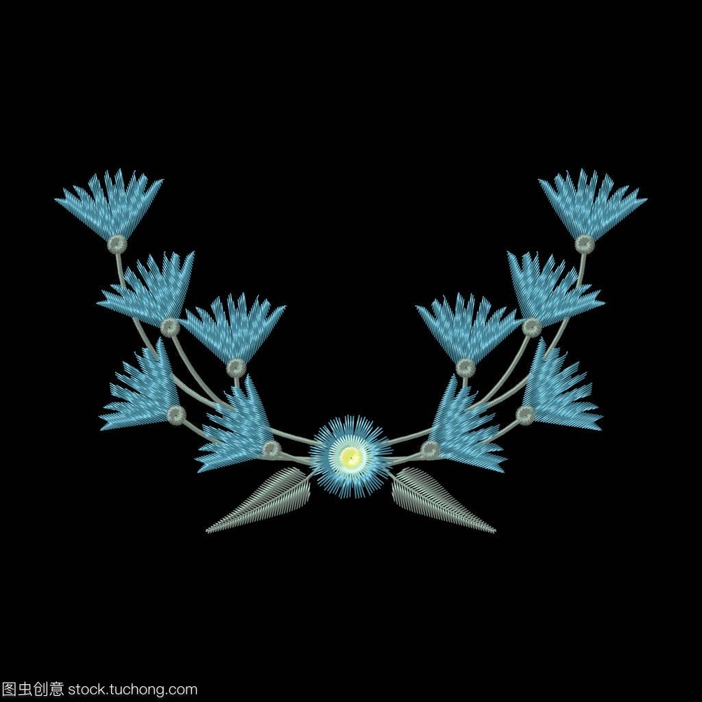 矢量插图视频的矢车菊和徽章。叶子教程刺绣男伪女声花环图片