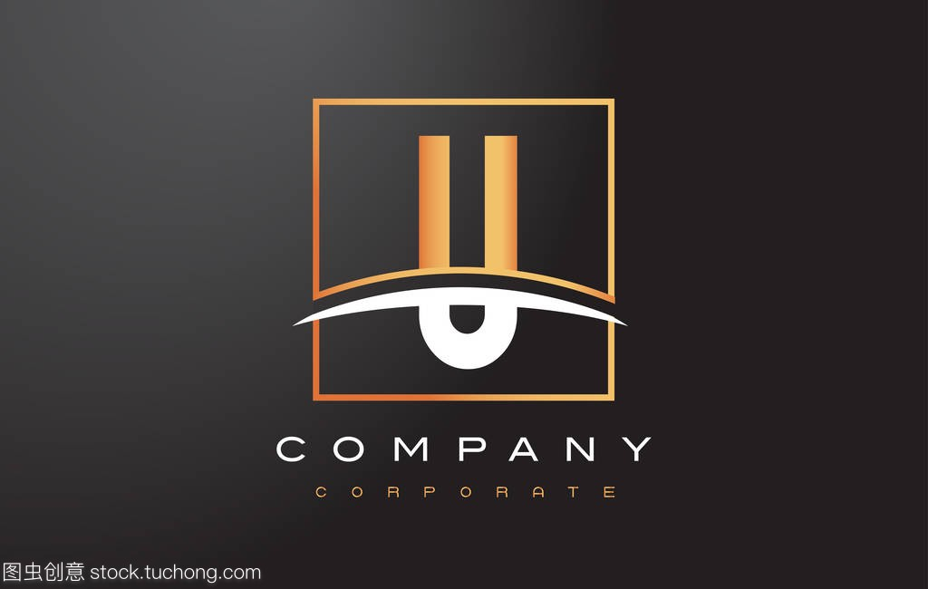 U广场金色标志设计与字母问题和旋风装修设计师的黄金图片