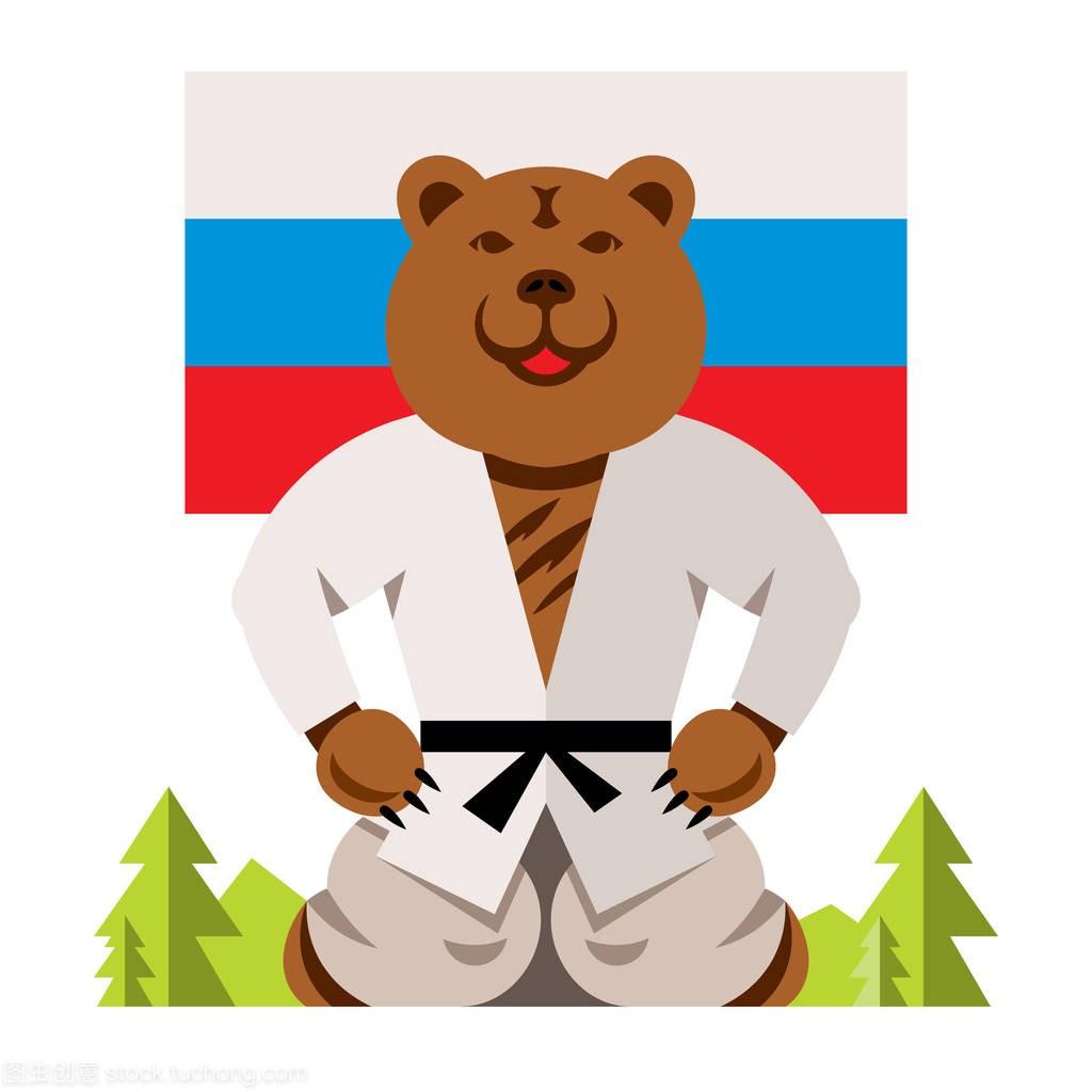 漫画俄罗斯熊a漫画的样式。矢量平面概念丰富的庄我们河合的色彩图片