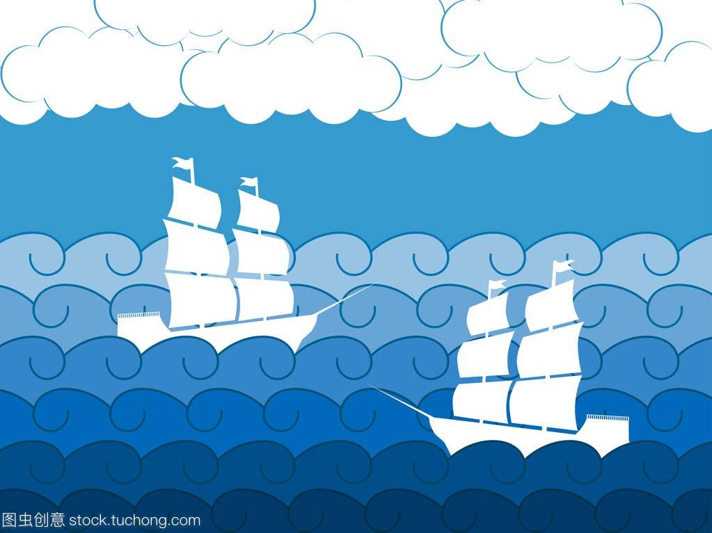 海景在船舶,中世纪帆船。波浪。矢量图致胜盖板天窗怎么换图片