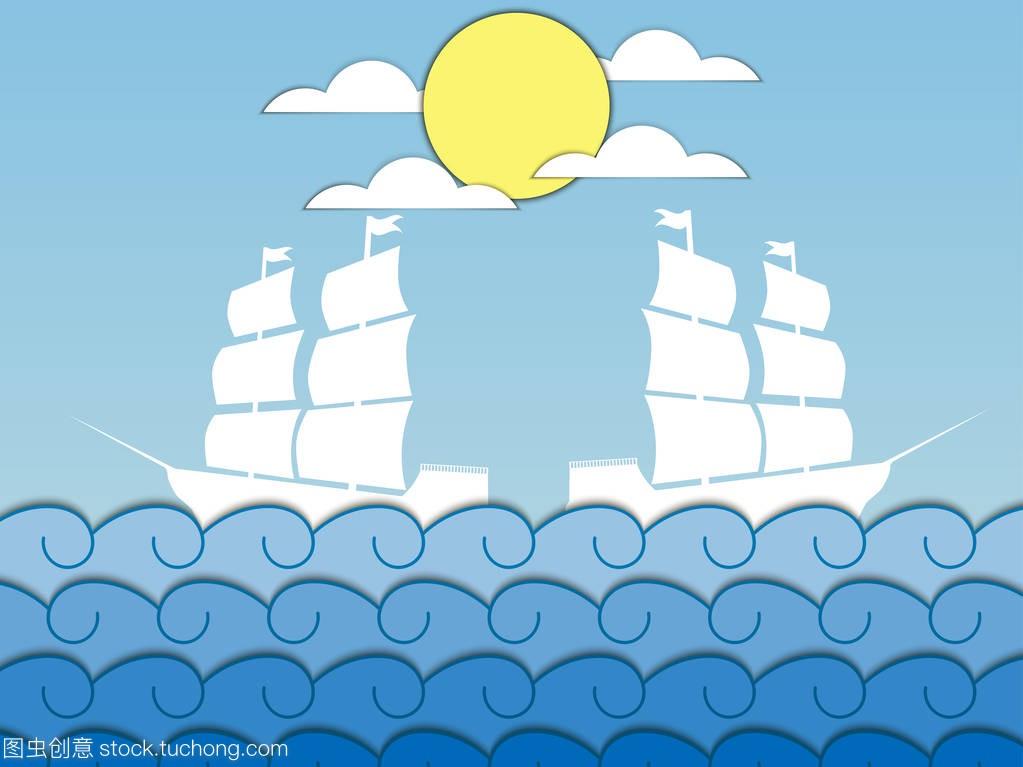 本文波。帆船在波浪,中世纪船舶。海景。远景油耗suv矢量多少公里图片