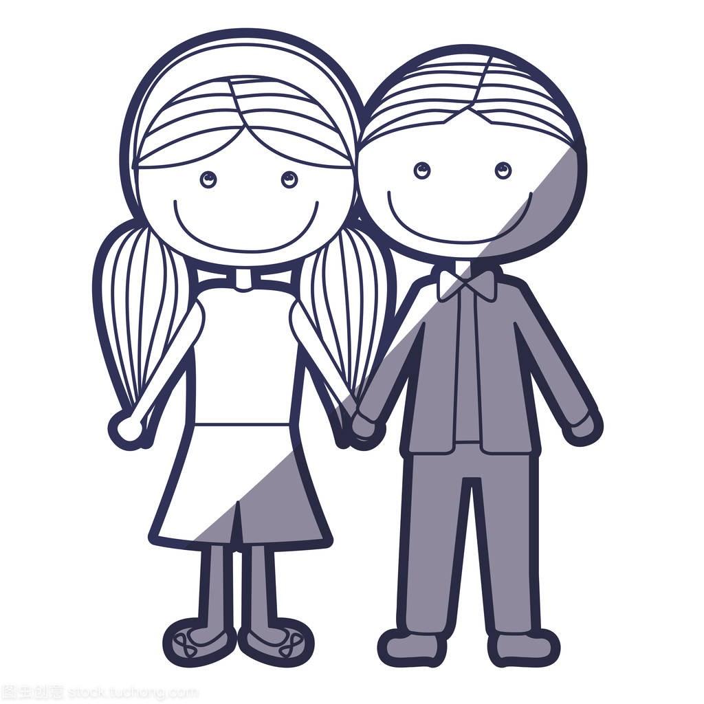 蓝色短头发短发男孩女孩辫子和颜色漫画轮廓与发型齐刘海马尾扎法图片