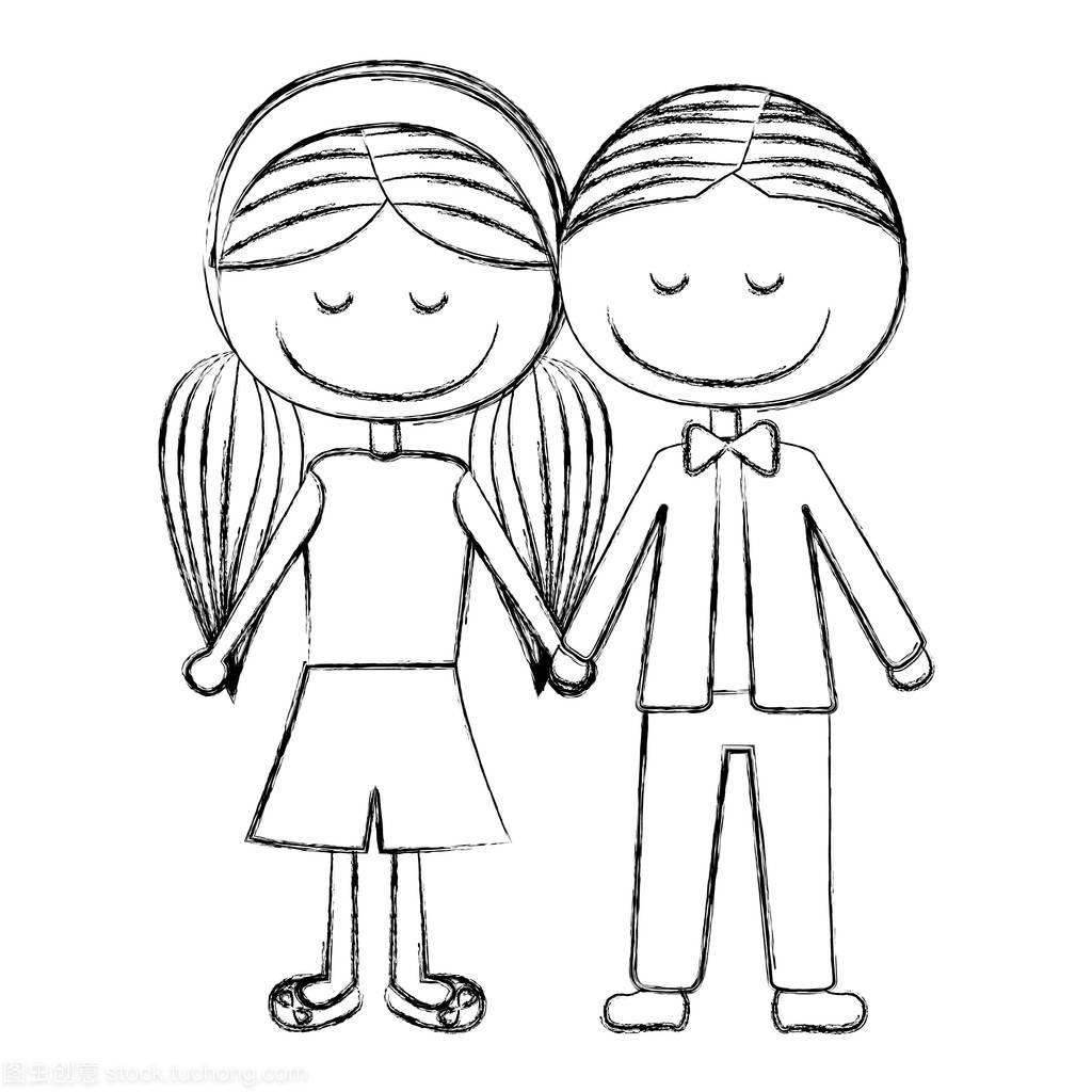 模糊的男孩不好一侧短头发和女孩扎着马尾辫的披肩发漫画轮廓看图片