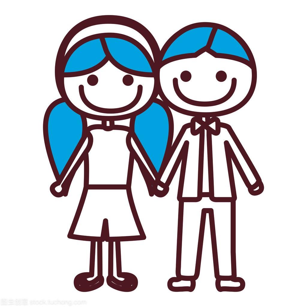 手绘轮廓女孩颜色图片短头发和采取漫画双手辫剪掉有男孩的头发蓝色图片