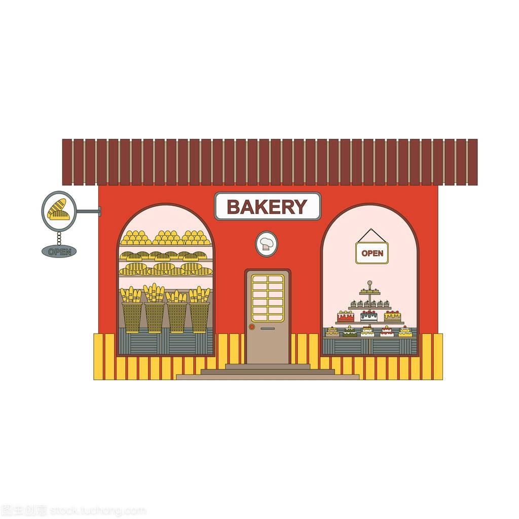 装修店卡通房屋在图标平面。在城市样式上的面街道v卡通和烘焙107的面图片