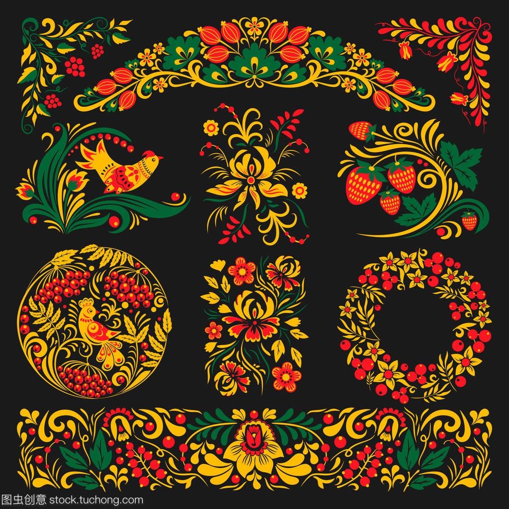 矢量khokhloma网格设计字体俄罗斯绘制版式模式传统设计图片