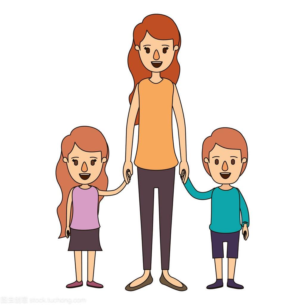 漫画男孩医院漫画图像带母亲和女孩的手全身的病媒彩色生物图片