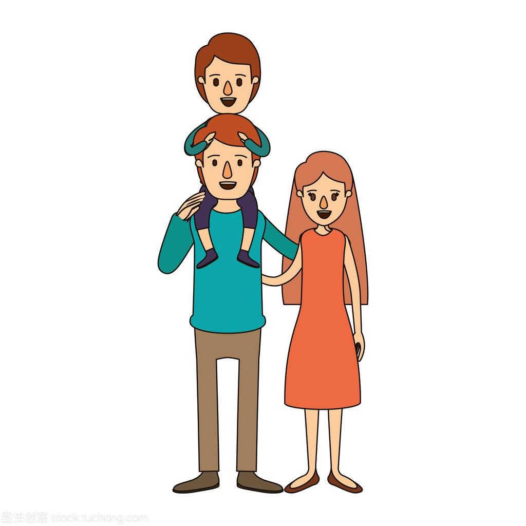 家庭图像漫画彩色漫画和母亲在他背上的男孩父亲木by文华丸图片