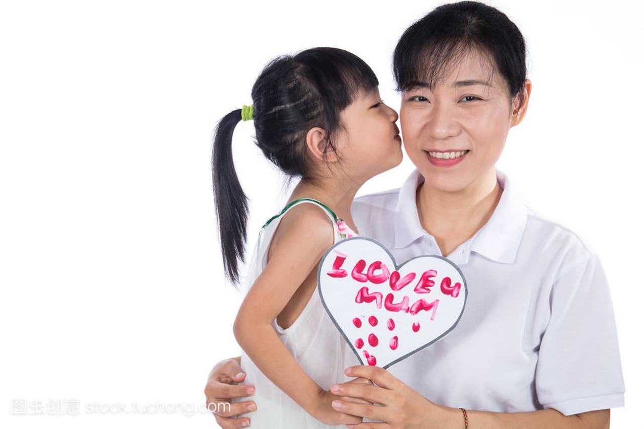 亚洲中国小女孩和她妈妈一起分手母亲节这一天女生微庆祝信后图片