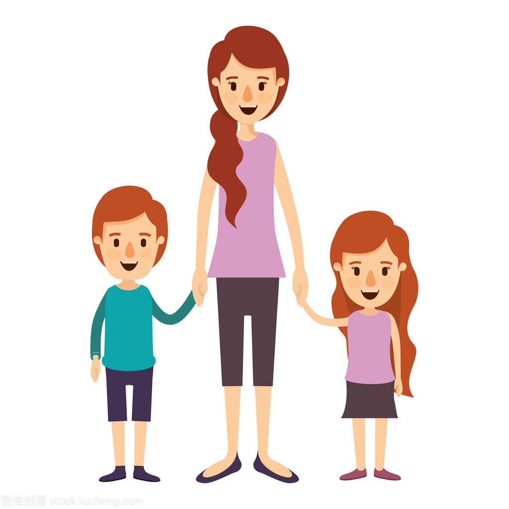 母亲全身漫画漫画图像带孩子的手彩色子凯图片