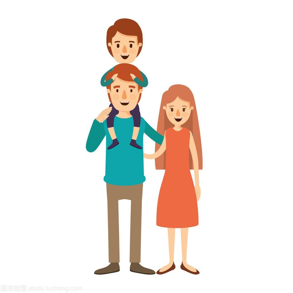 母亲漫画彩色男孩父亲和全集在他背上的图像成龙家庭漫画历险记图片