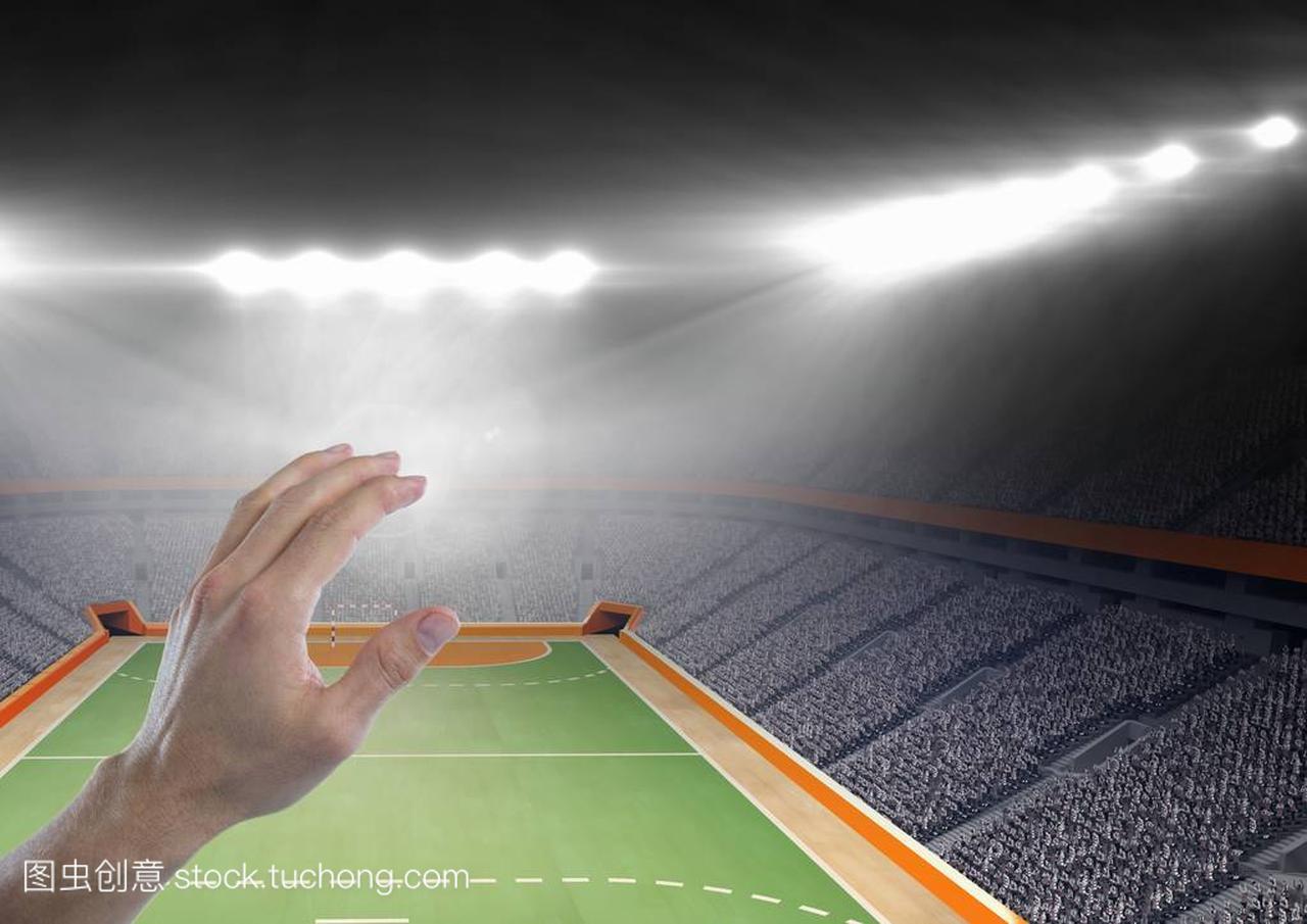 用手抚摸冰球与手球体育场修建造价气膜馆空气图片
