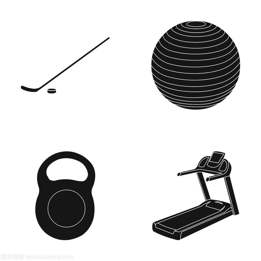 黑色球棒与马术,球,冰球,跑步机。重量中的曲棍通辽体育图片