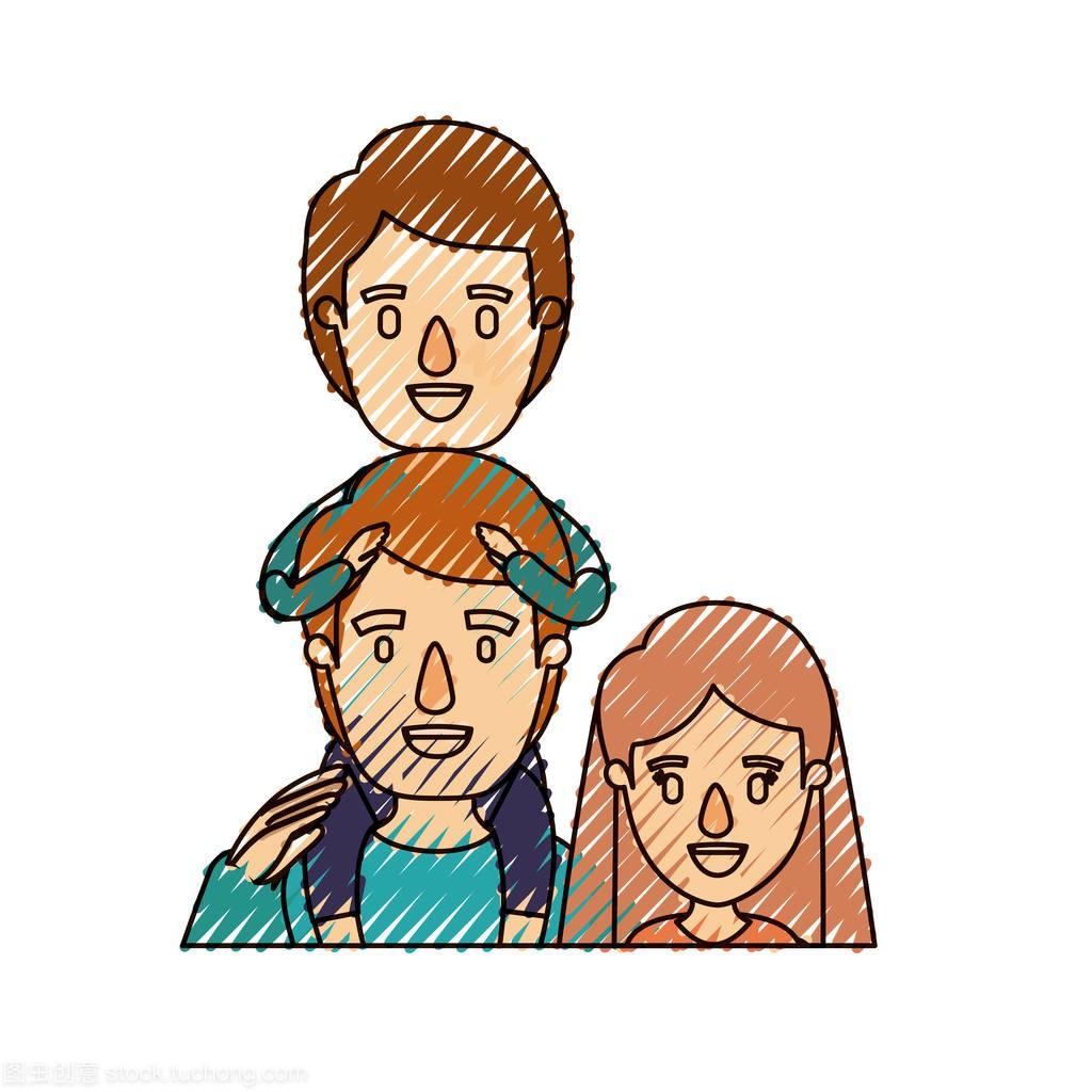 蜡笔漫画条纹半身父亲家庭人物和彩色在他背上漫威q漫画母亲图片