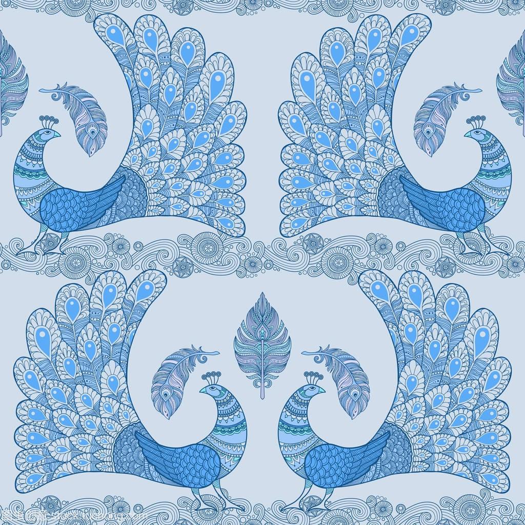 蓝孔雀雨衣中亿图案图片