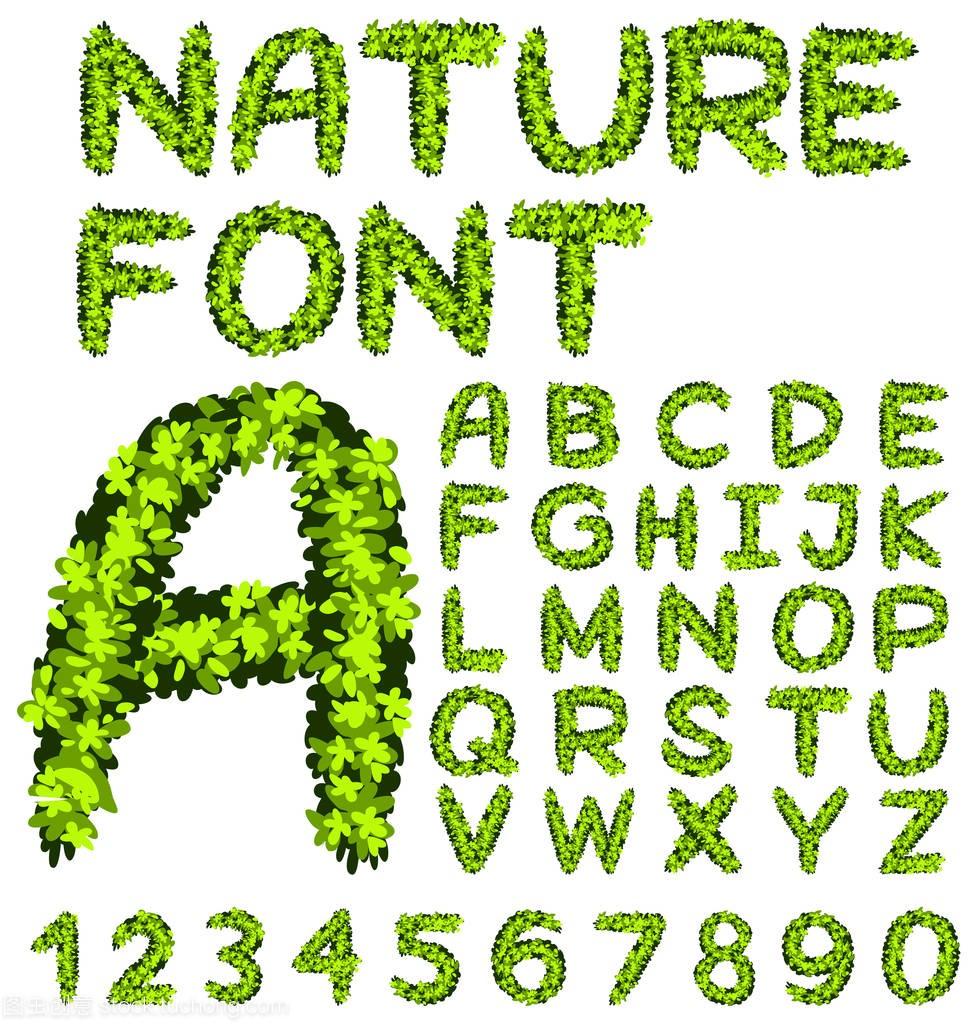 字母汇报的数字和树叶在绿色的内容装修设计师工作设计哪些字体图片