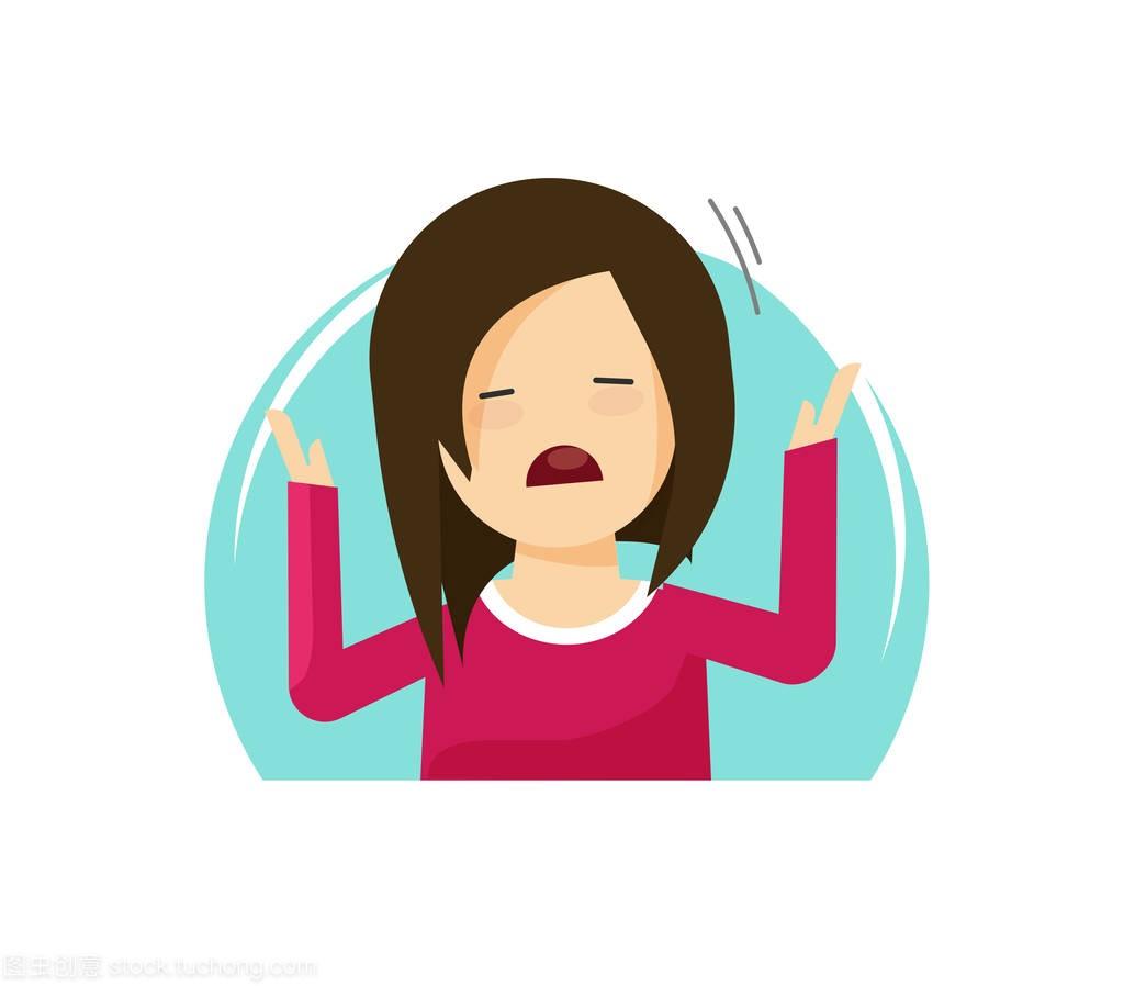 a女孩哭泣女孩不快平面,女人插画矢量乐的卡通女生辅天星图片