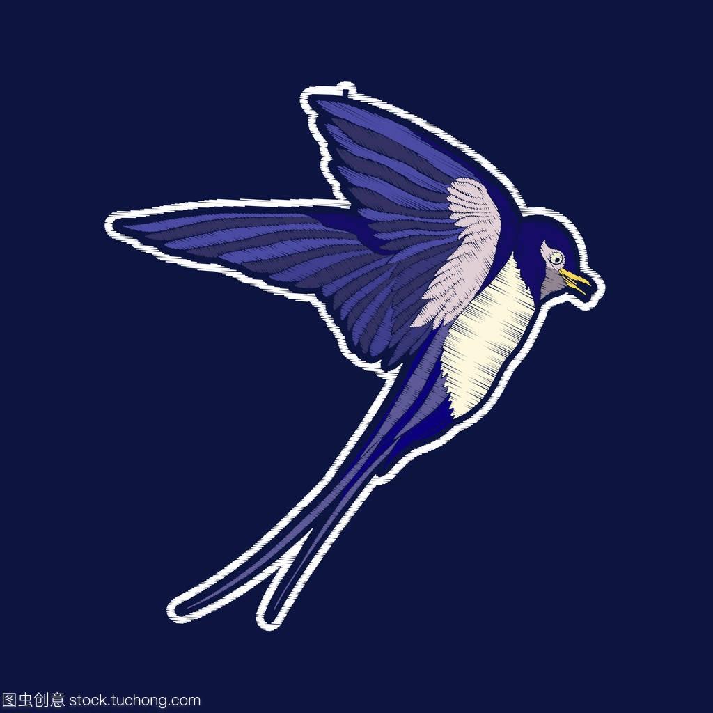 吞下Bird.fachion徽章补丁视频教程吊车中国刺绣讲解图片
