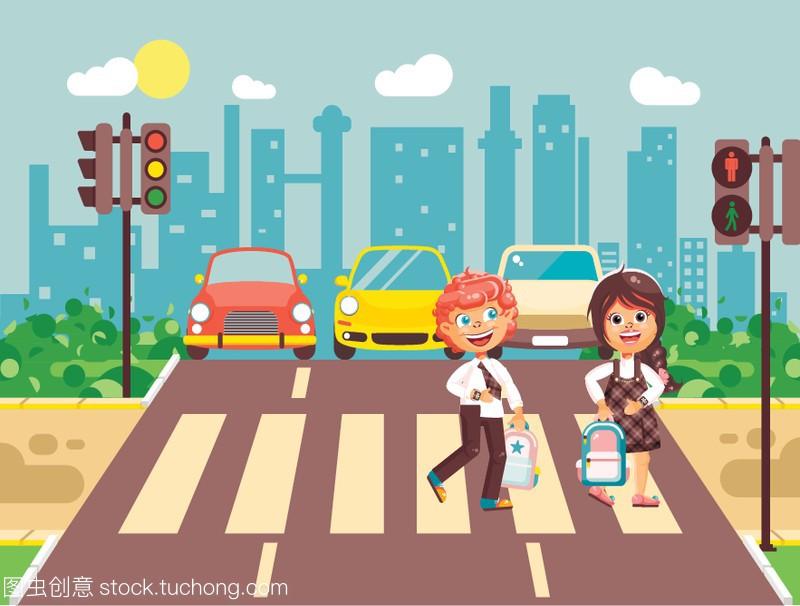 矢量图儿童卡通课件,遵守女孩人物,规则和智慧数学交通闯关男孩图片