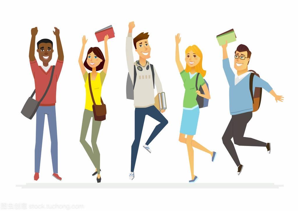 a高中的跳跃高中高中-卡通人孤立图学生广东v高中图片