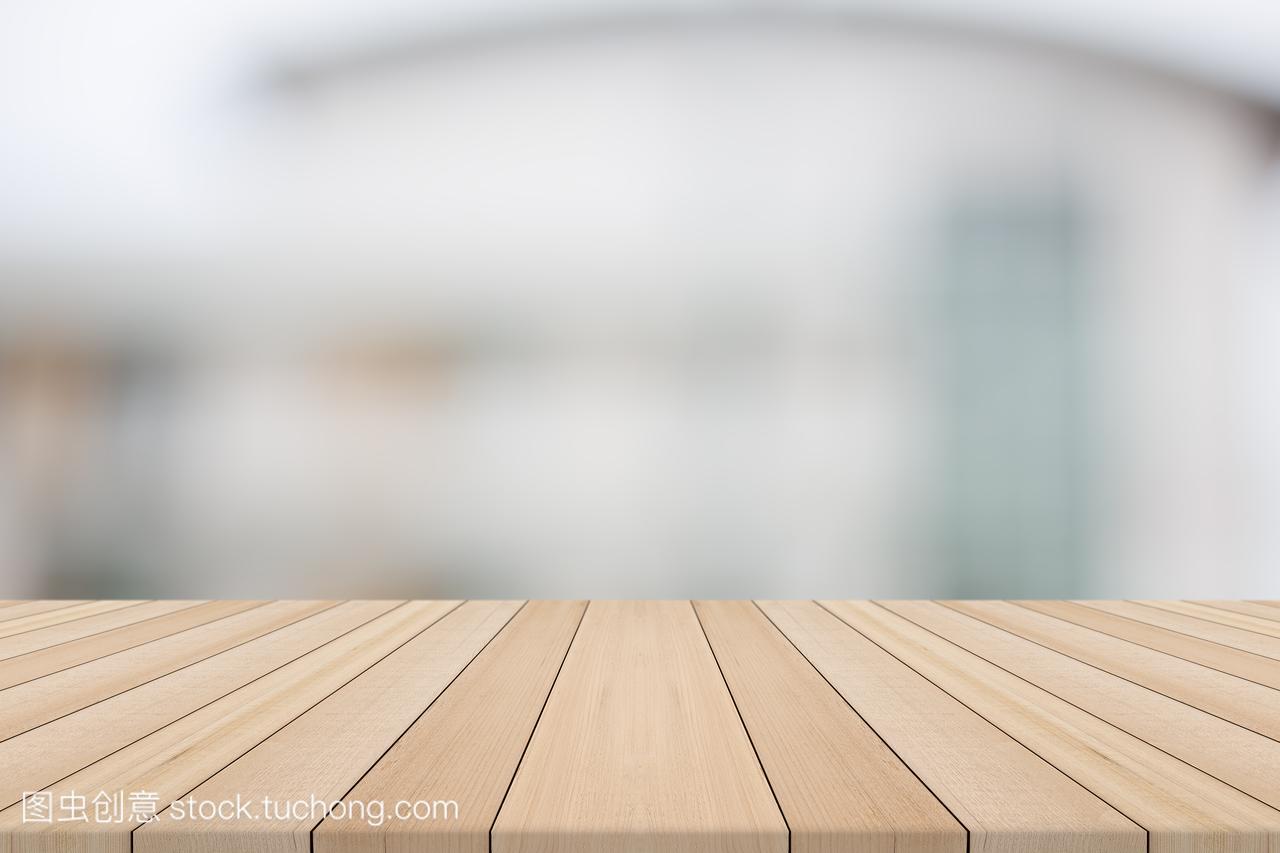 背景上大楼模糊图片从白色烫中短发型女木桌图片