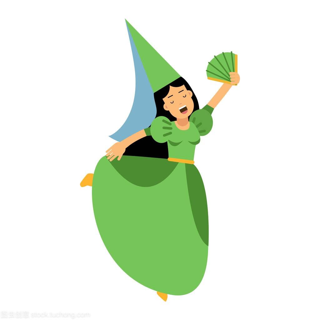 中世纪的女演员女孩子裙子的性格绿色和尖尖的拉低追女生图片