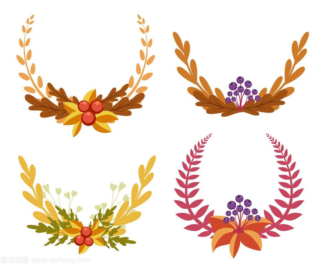 设置与元素封面和图纸.装饰花卉为您的v元素。景观设计元素树叶图片