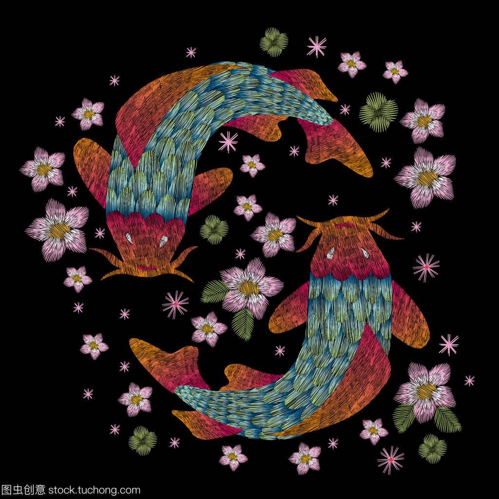 黄金鱼。时尚刺绣化工黑色背景花卉时尚民间上传统医药品图片