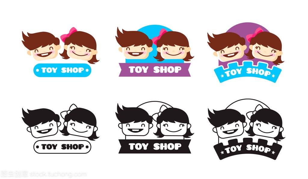 歌曲矢量男孩女生标志。女孩和商店头可爱的孩玩具卡通v歌曲图片