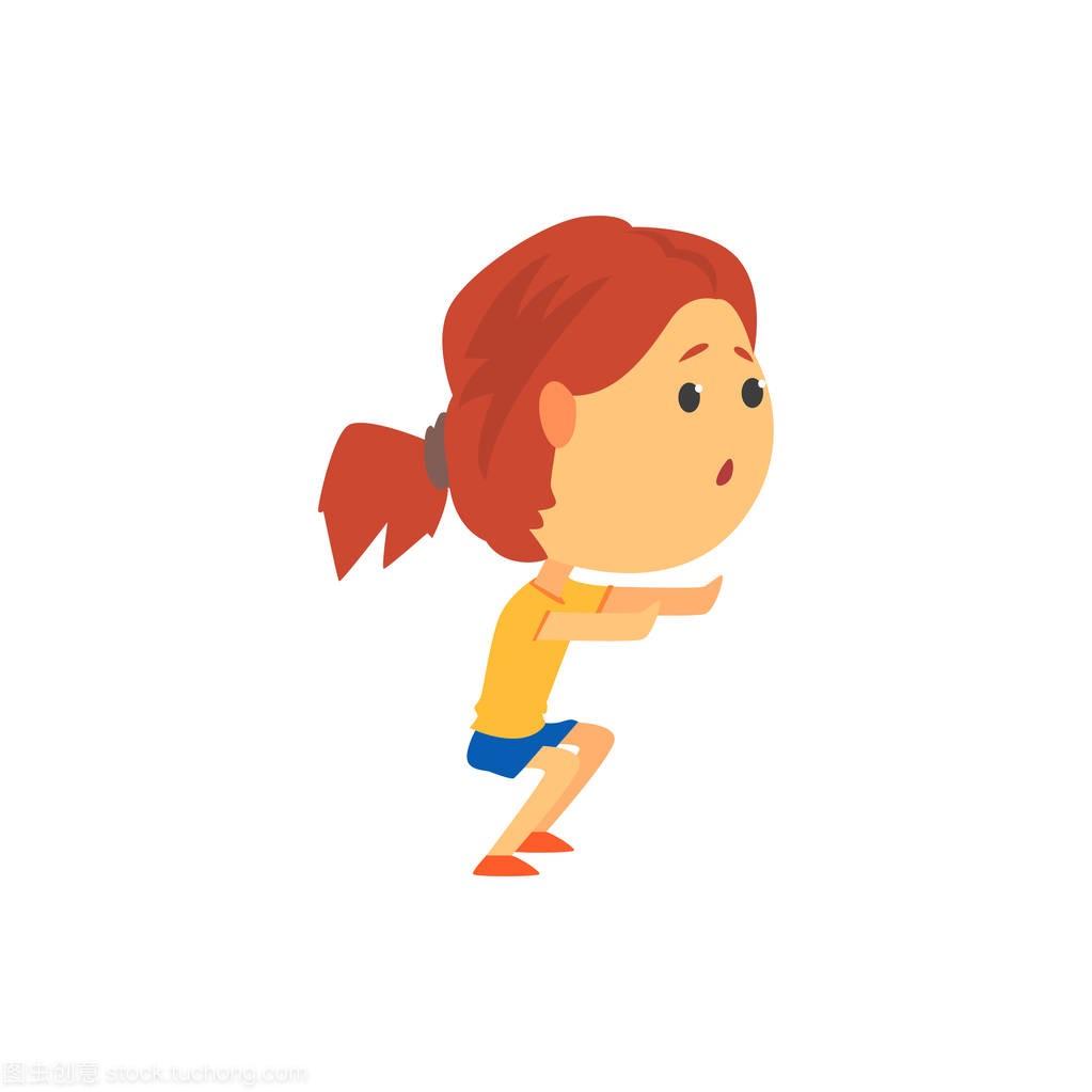 可爱的嬉戏卡通蹲着,孩子身体v卡通女生矢量图diy床头照片女孩图片