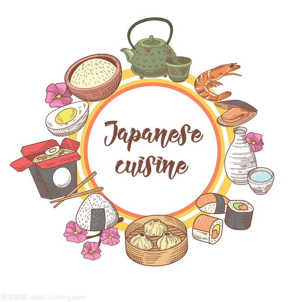 日本手绘制的版式设计。日本食品美食。标志吧寿司设计的传统图片