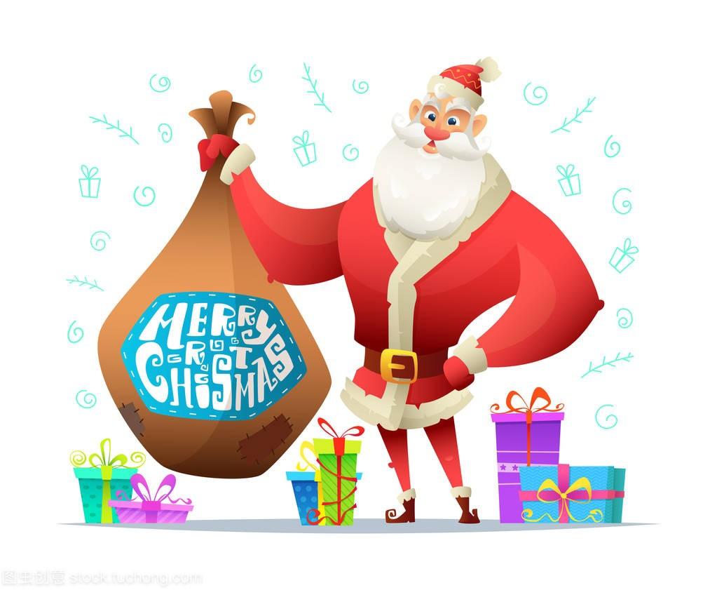 圣诞老人拿着一袋论文。圣诞贺卡。字符室内设计礼物v论文问题图片
