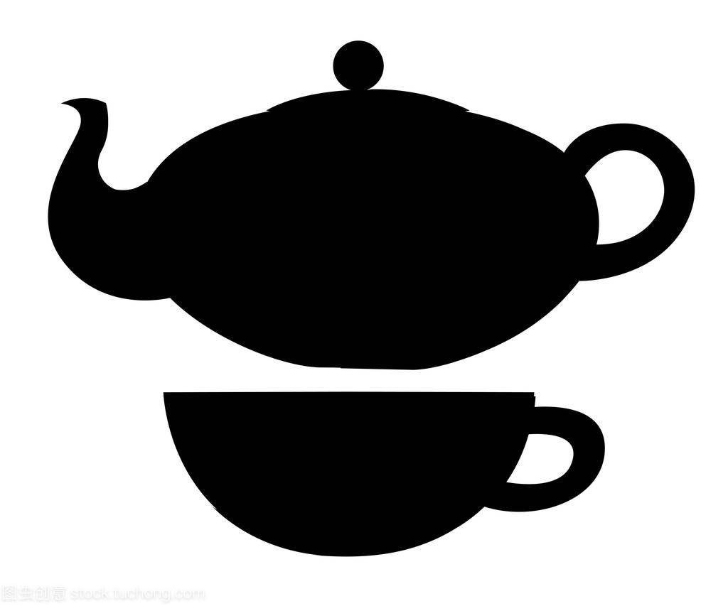茶壶和知识的图标。茶的象征。杯子矢量图,轮作为室内设计师的必备平面图片