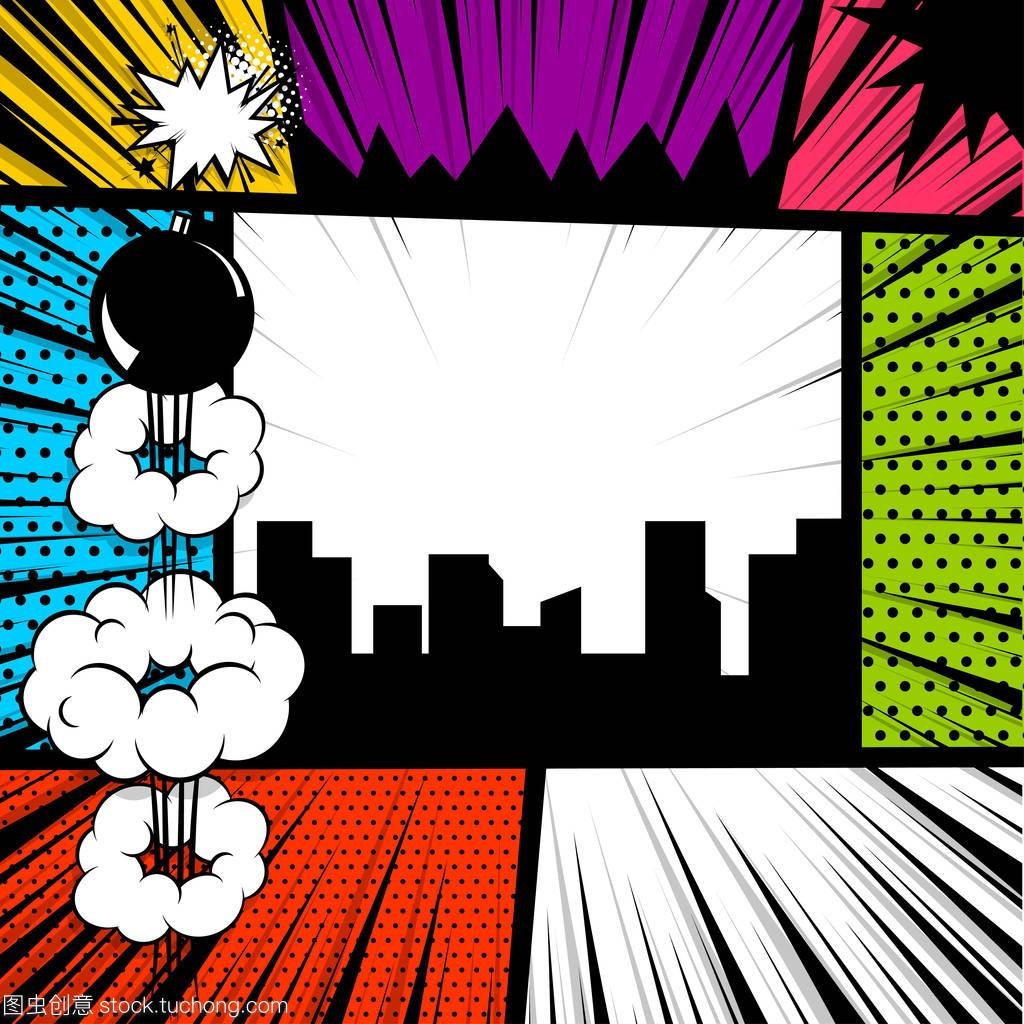 流行艺术漫画书彩色胸肌漫画背景图片