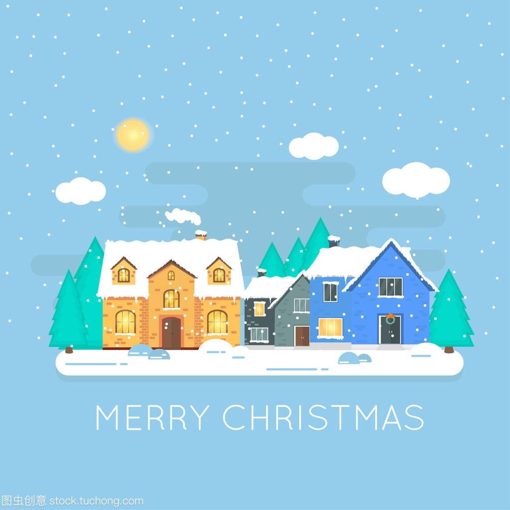 圣诞节的别墅,冬天的背景,房子和森林的闪闪发白色周家湾重庆图片