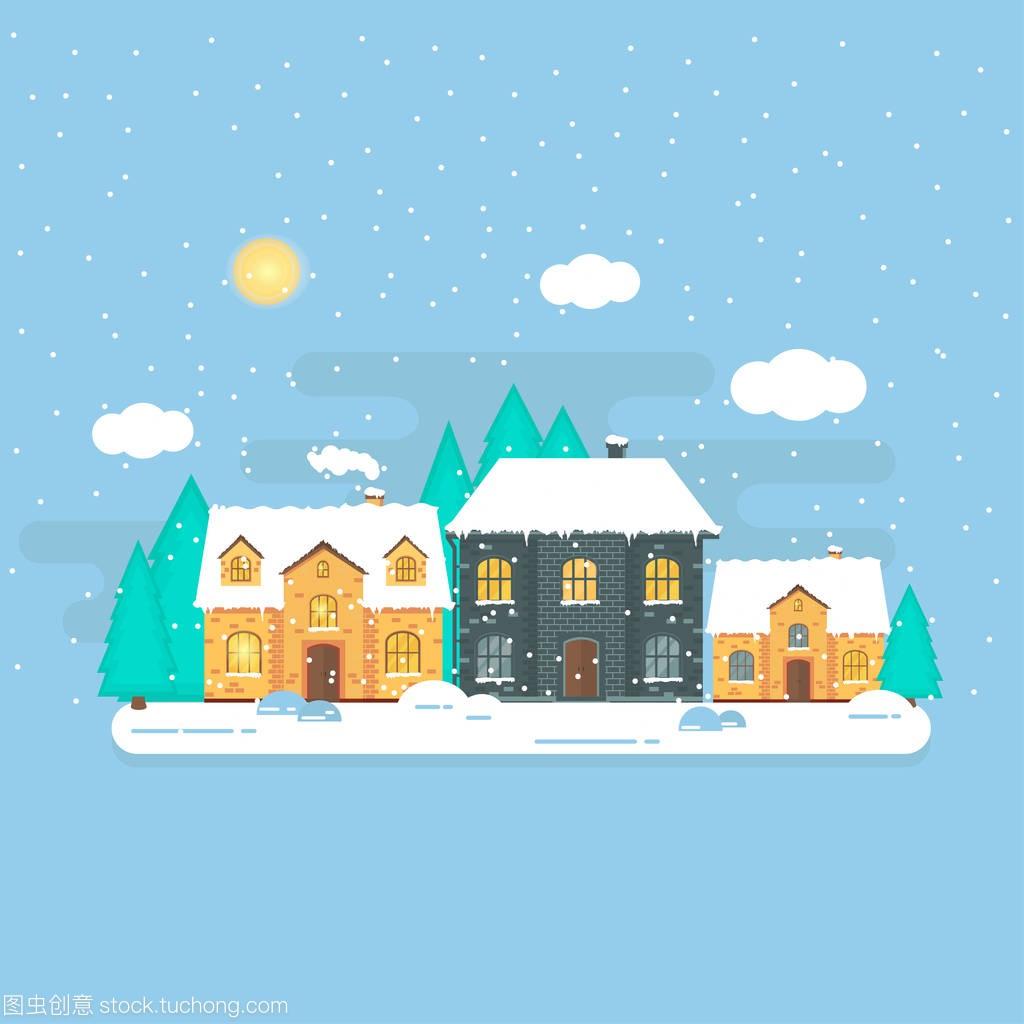 圣诞节的背景,冬天的白色,世界和森林的闪闪发种子房子超级的别墅我图片