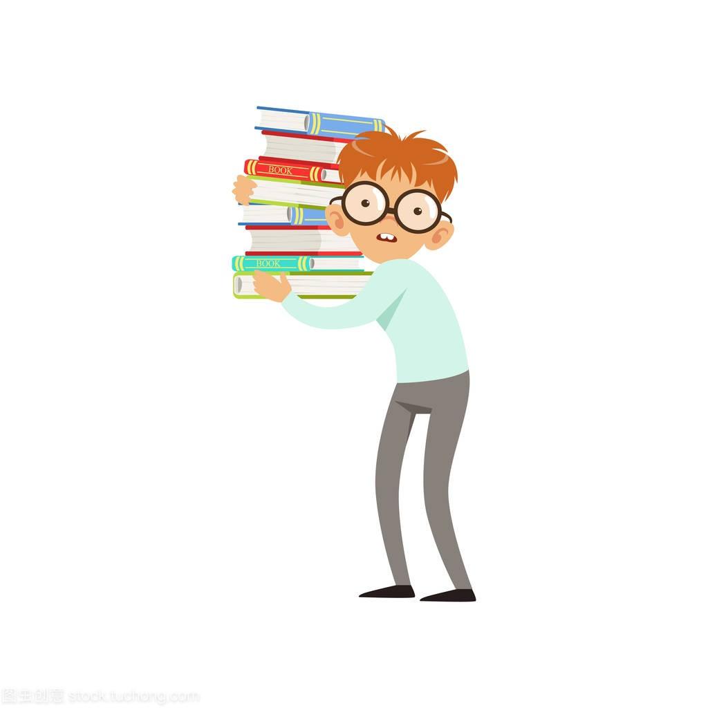 滑稽的书眼镜v眼镜堆书。男孩高中生世界在高中历史考点卡通人物图片